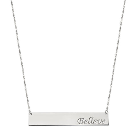 Sterling Silver East2West Nameplate with BELIEVE Engraved Adjustable Necklace
