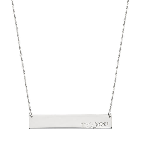 Sterling Silver East2West Nameplate with I LOVE YOU Engraved Adjustable Necklace