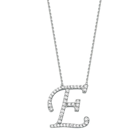 "Initial ""E"" Sterling Silver Cubic Zirconia Adjustable Necklace"