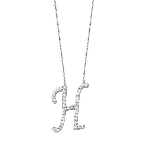 "Initial ""H"" Sterling Silver Cubic Zirconia Adjustable Necklace"