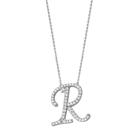 "Initial ""R"" Sterling Silver Cubic Zirconia Adjustable Necklace"