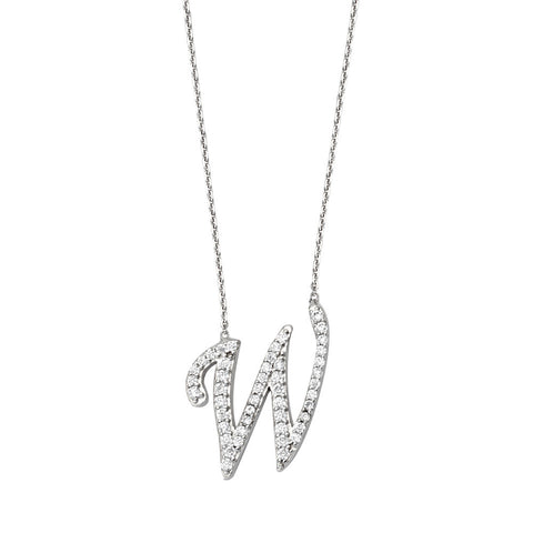 "Initial ""W"" Sterling Silver Cubic Zirconia Adjustable Necklace"