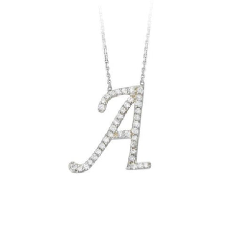 "Initial ""A"" Sterling Silver Cubic Zirconia Adjustable Necklace"
