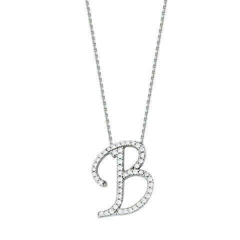"Initial ""B"" Sterling Silver Cubic Zirconia Adjustable Necklace"