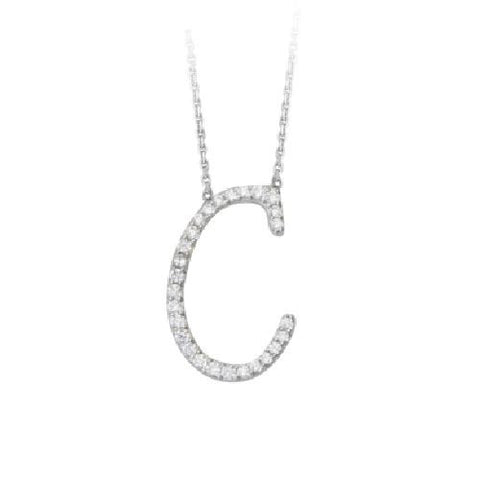 "Initial ""C"" Sterling Silver Cubic Zirconia Adjustable Necklace"