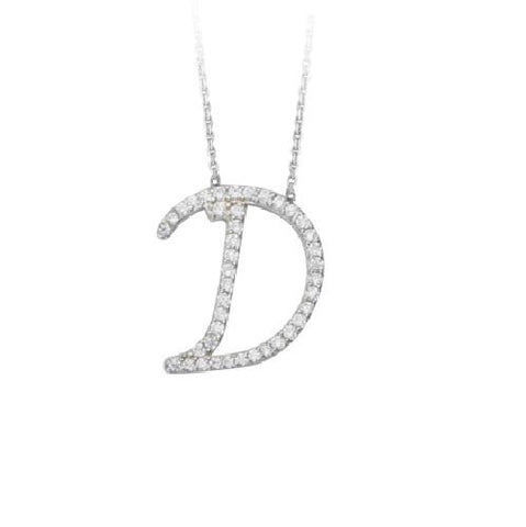 "Initial ""D"" Sterling Silver Cubic Zirconia Adjustable Necklace"