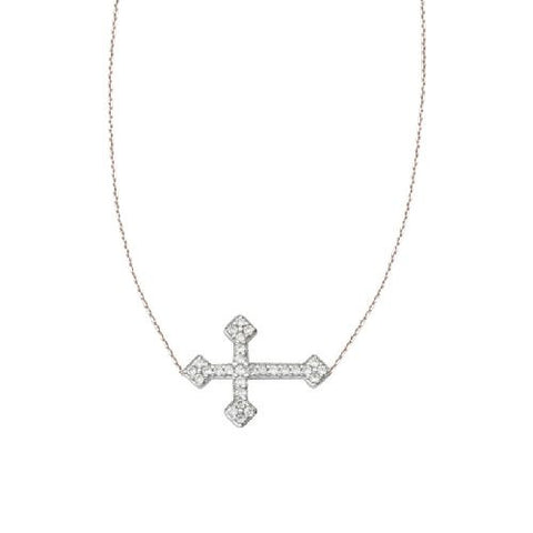 Sterling Silver East2West CZ Fancy Cross Necklace adjustable
