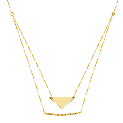 14kt Yellow Gold E2W Adjustable Duo Stability and Strength Necklace