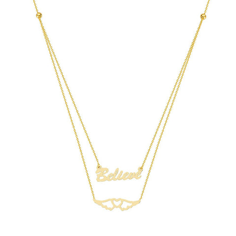 14kt Yellow Gold E2W Adjustable Duo Believe in Your Journey Necklace