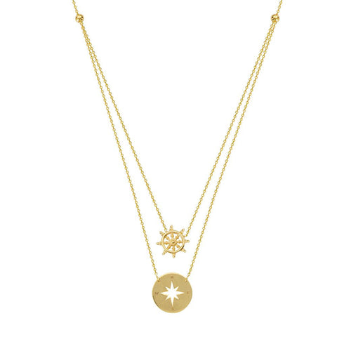 14kt Yellow Gold Adjustable Duo Navigation Necklace