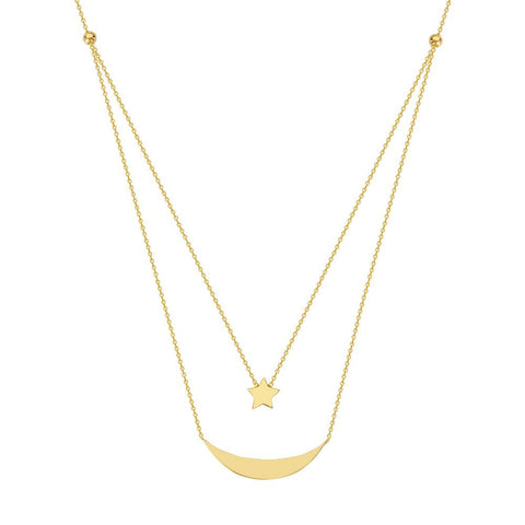 14kt Yellow Gold E2W Adjustable Duo Celestial Necklace
