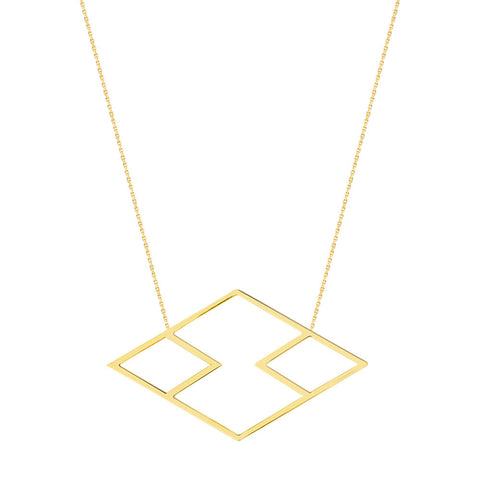 14kt Yellow Gold Adjustable Geo Tribal Necklace
