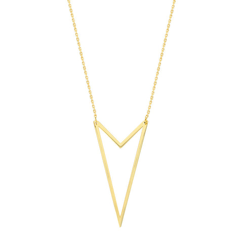 14kt Yellow Gold Adjustable Double V Shape Necklace
