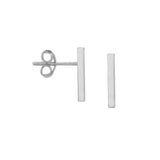 14kt White Gold Small Staple Stud Earrings