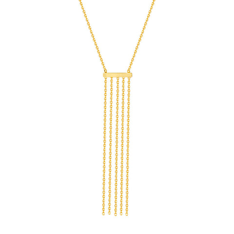 14kt Yellow Gold  Bar Tassel Adjustable Necklace