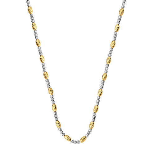Sterling Silver  Yellow & White Oval/Round Bead Necklace