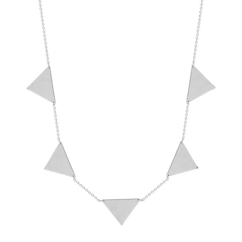 Sterling Silver 5 Triangle Connection Adjustable Necklace