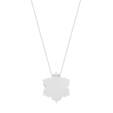 14kt White Gold Flower Shape Engravable Disc Necklace adjustable