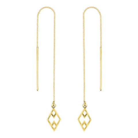 14kt Yellow Gold Draw The Line Haze Geo Chain Threader Earrings