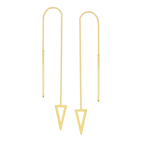 14kt Yellow Gold Draw The Line Pyramid Chain Threader Earrings