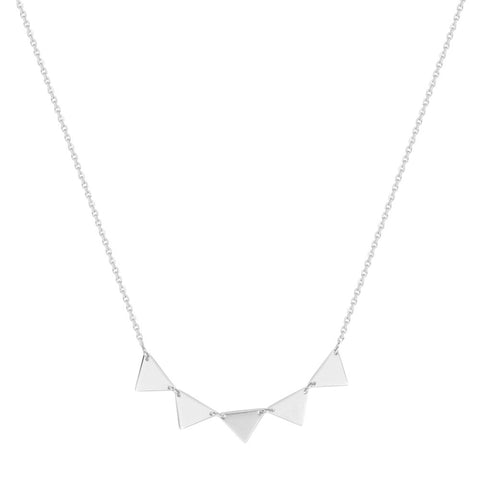 14kt White Gold E2W Adjustable Triangle Connection  Necklace