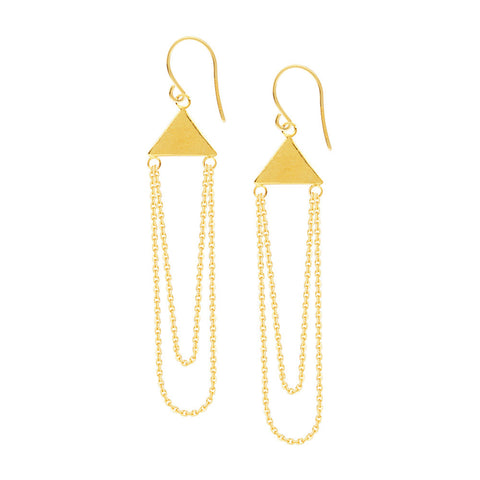 14kt Yellow Gold Dangle Pyramid Shape Chain Earrings