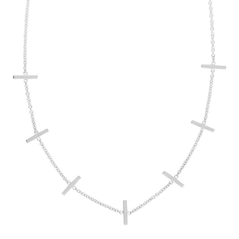 14kt White Gold Seven Staples on Cable Chain Adustable Necklace
