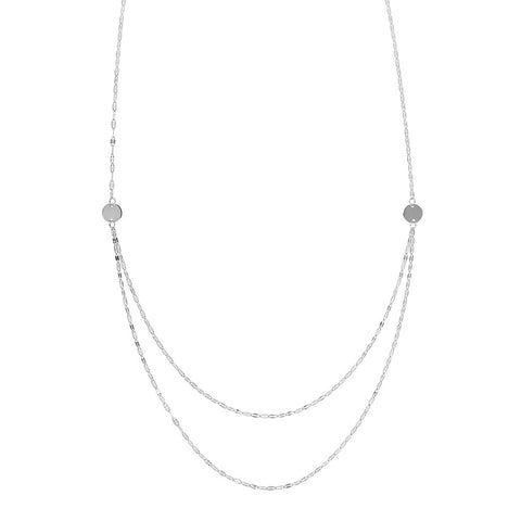 14kt White Gold Graduated Hammered Mariner Bib Adjustable Necklace