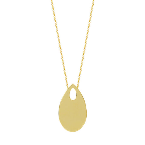 14kt Yellow Gold Adjustable Teardrop Necklace