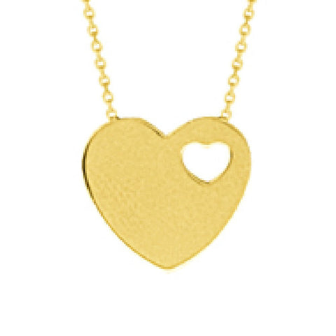 14kt Yellow Gold Cut Out Heart On Heart Adjustable Necklace