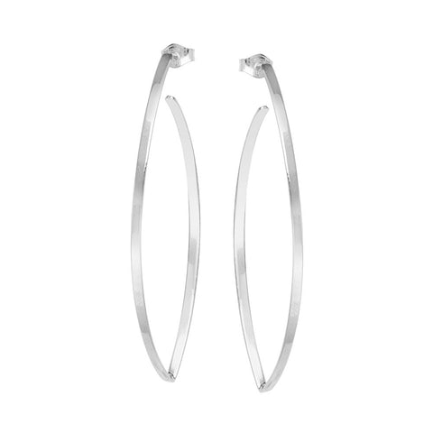 14kt White Gold Long Flat/Round Wire Earrings