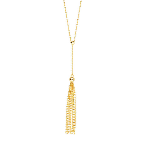 14kt Yellow Gold Beaded Moveable Lariat Necklace
