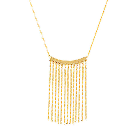 14kt Yellow Gold Curve Bar Tassel Adjustable Necklace