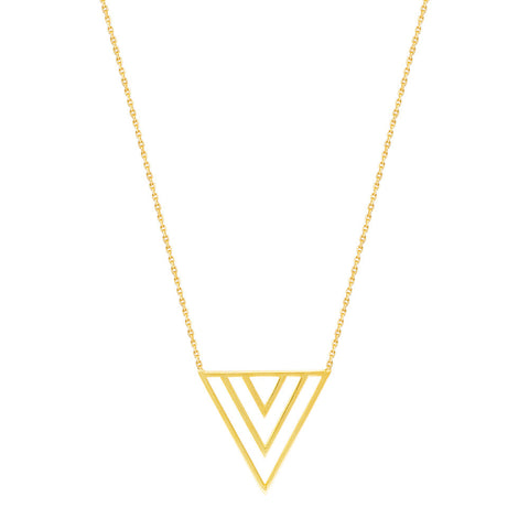 14kt Yellow Gold Adjustable Trio  V Shape Necklace