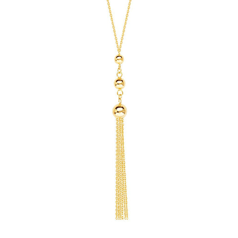14kt Yellow Gold  Graduated Tassel Adjustable Necklace