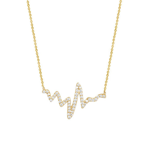 14kt Yellow Gold Cubic Zirconia Heartbeat Adjustable Necklace