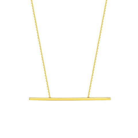 14kt Yellow Gold Balance Bar DC Cable Adjustable Necklace
