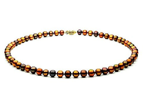 7, 5-8mm Multi Chocolate Freshwater Pearl Necklace