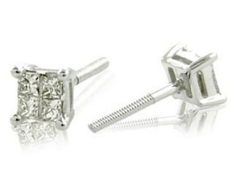 White Gold 14k Princess Diamond Stud Earrings 1/4ctTW(I-J, I1-I2