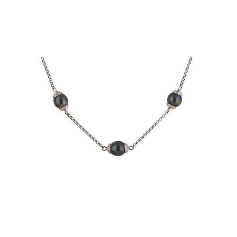 14kt White Gold Necklace with Black Tahitian Pearls