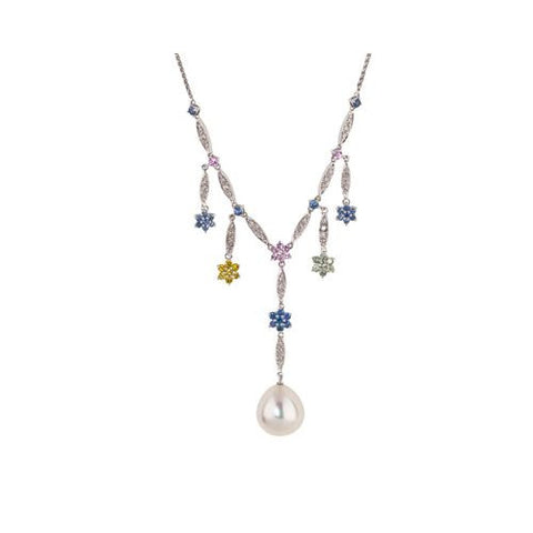 14kt White Gold Diamond, Sapphire and South Sea Pearl Necklace