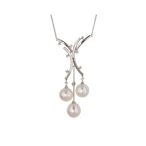 14kt White Gold Diamond and South Sea Pearls Necklace