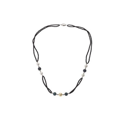 Black Spinel Double Strand Necklace with 10-11mm South Sea Pearl