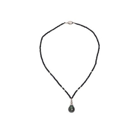 Black Spinel with 13mm Black Tahitian Pearl Drop Necklace