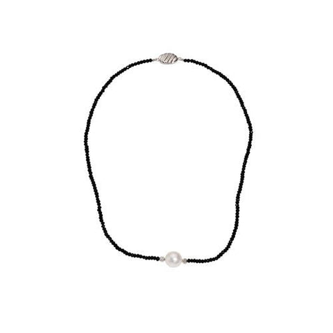Black Spinel with 11mm White Pearl Necklace