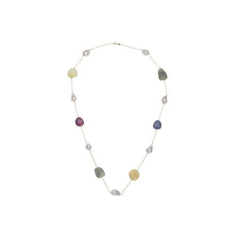 14kt Yellow Gold Pearl and Multi Sapphire Necklace