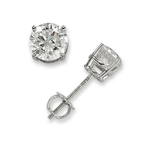 White Gold 14k Round Diamond Stud Earrings 1/2ct TW (I-J, I2-I3)