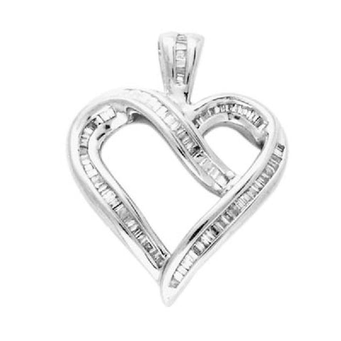 14kt White Gold Heartshape Baguette Diamond Pendant 0.25ct TW