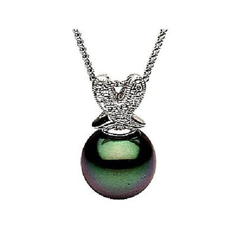 14kt Gold 11-12mm Black Tahitian Pearl and Diamond Pendant