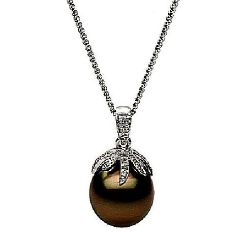 Black Tahitian Pearl and Diamond 14kt White Gold Pendant